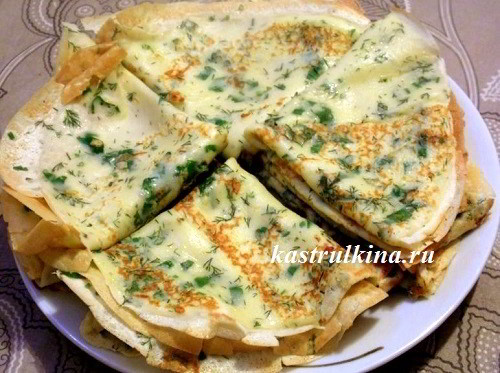 Вкусные блинчики с сыром и зеленью