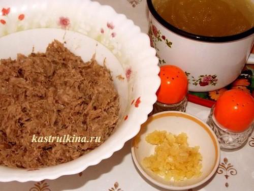 бульон мясо и чеснок