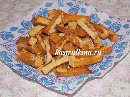 Вкусные домашние сухарики из батона с кетчупом, специями и горчицей