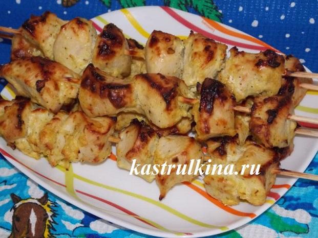 Рецепт домашнего шашлыка из курицы в духовке в маринаде из кефира и майонеза