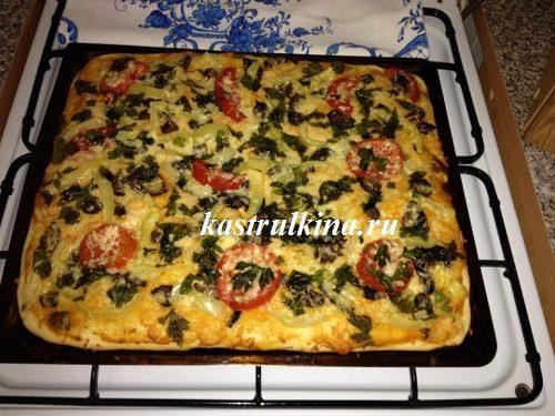 Вкусная домашняя пицца с грибами на дрожжевом тесте