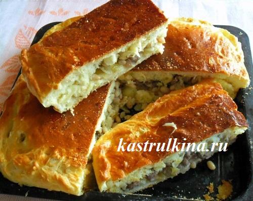 дрожжевой пирог с мясом и фасолью