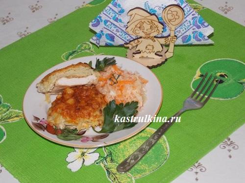 запеченная куриная грудка с картошкой и сыром