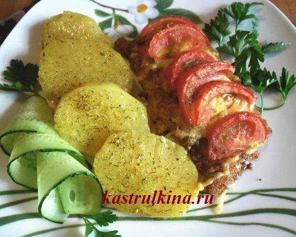 Филе морского языка под шубой из помидоров и сыра, рецепт для духовки