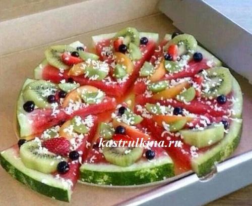 фруктовая пицца на арбузе