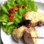 жареная индейка в молоке с сыром и помидорами