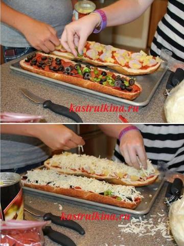 как сделать пиццу на батоне