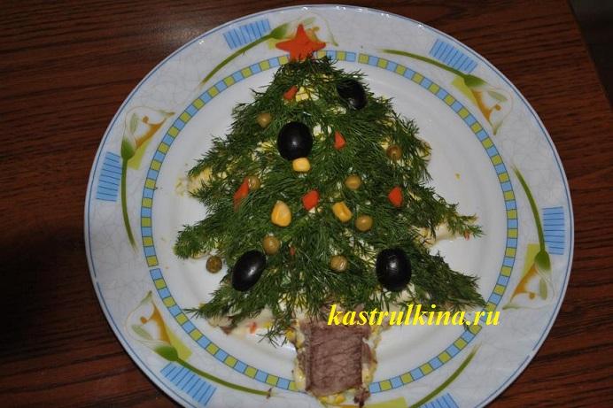 как украсить новогодний салат оливье