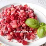 красный салат с квашеной капустой и фасолью