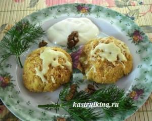 Картофельно-гороховые крокеты с грецким орехом