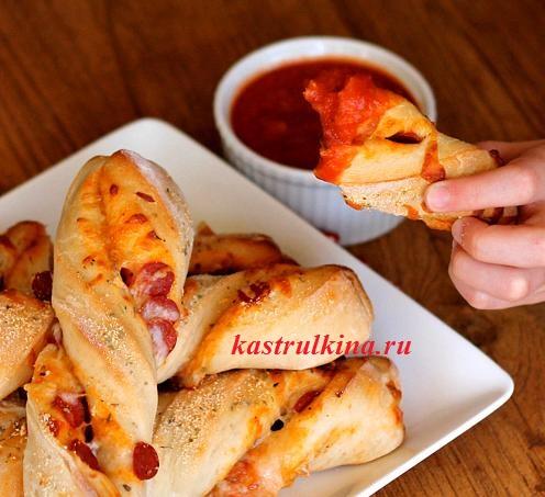 крученые палочки из пиццы