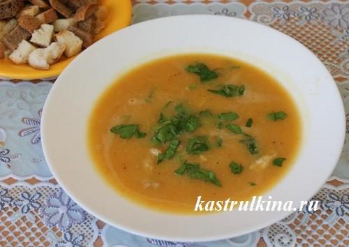 суп пюре с мясом и чечевицей