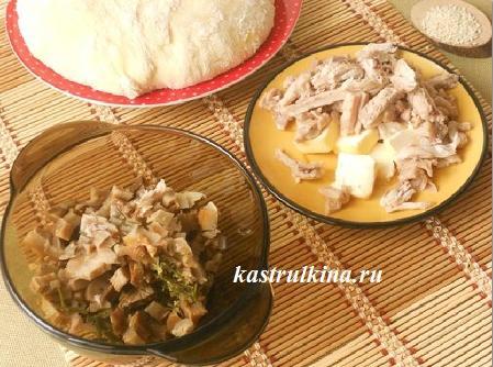 начинка - грибы и курица