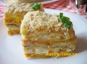 несладкий торт из слоеных коржей с начинкой из сардин