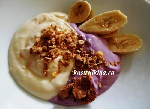 низкокалорийный десерт с йогуртом