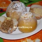 печеные яблоки с творожной начинкой и орехами и медом