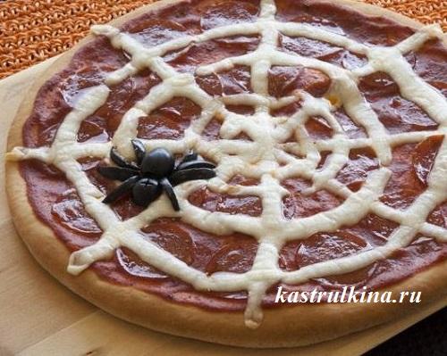 пицца с паутиной на halloween