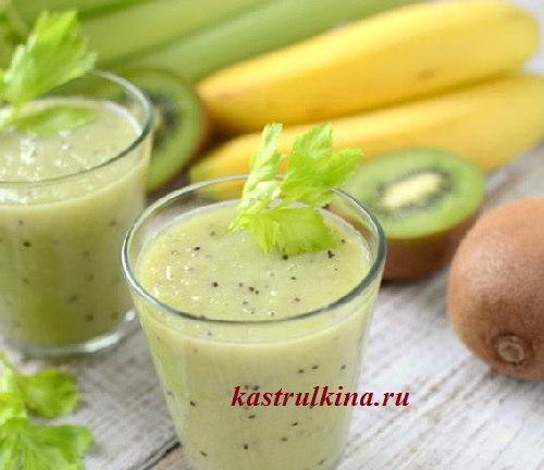 полезный зеленый коктейль из киви, сельдерея и бананов