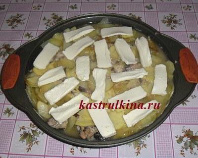 положить на запеканку плавленный сыр