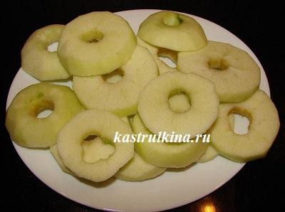 яблоки нарезать колечками