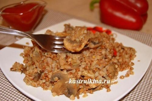 Постное блюдо в мультиварке – гречка с грибами