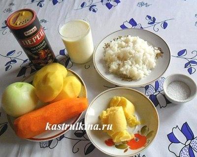 продукты для молочного супа с рисом