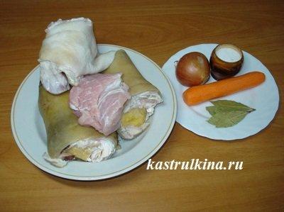 продукты для приготовления холодца