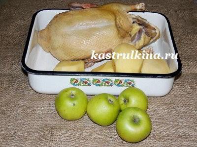 продукты для запекания утки с яблоками