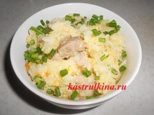 пшенно-рисовая каша со свининой в духовке фото