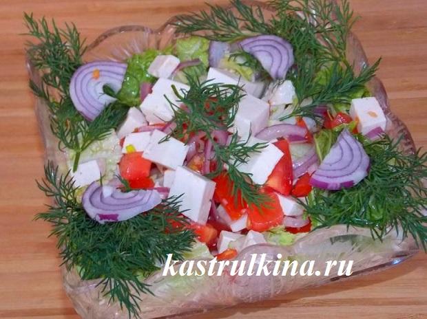 Рецепт греческого салата с брынзой