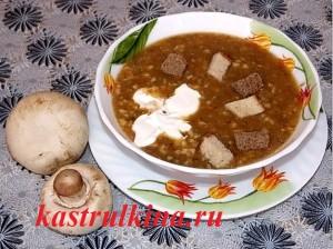 суп пюре с плавленным сыром и грибами