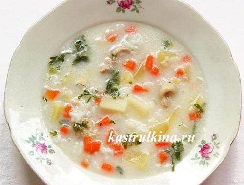 суп с плавленным сыром и рисом рецепт с фото