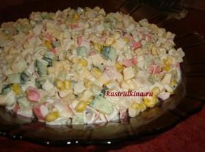 салат из крабовых палочек с яблоком и сыром