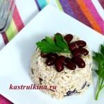 салат с фасолью, тунцом и рисом