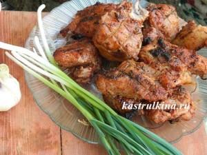 свиной шашалык, мариновынный с луком и кефиром