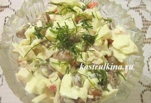 сытный салат из консервированной фасоли с крабовыми палочками на скорую руку