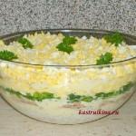 слоеный салат с тунцом рисом и сыром