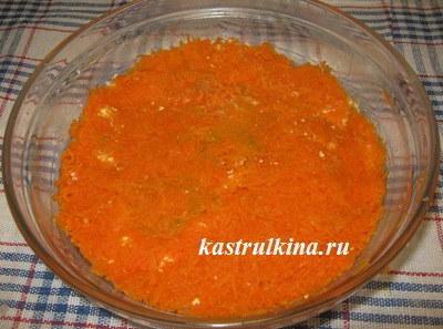 слой из вареной морковки