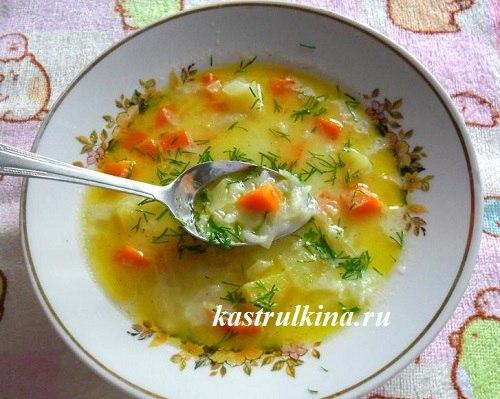 суп с рисом и молоком без мяса в микроволновке