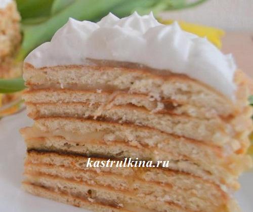торт с творогом, испеченный на сковороде
