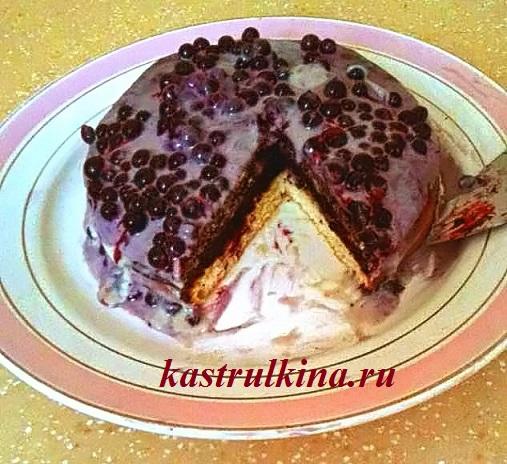 трехслойный торт с маком и смородиной фото