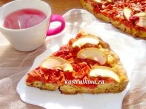 песочный пирог с начинкой из вишни и тыквы