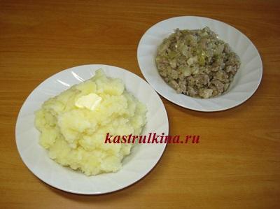 вареная картошка и жареный фарш