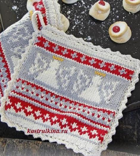 Рождественские прихватки с ангелами (вязание спицами)