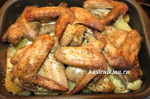 куриные крылышки в духовке рецепт с картошкой