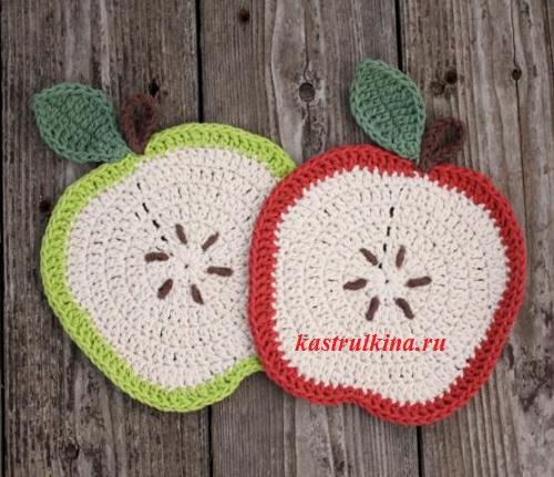 вязание прихватки яблоко крючком